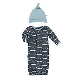 KicKee Pants® Newborn 2-Piece Stone Canoe Hat and Convertible Gown Set in Grey
