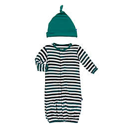 KicKee Pants® Newborn 2-Piece Wildlife Stripe Hat and Convertible Gown Set in Green