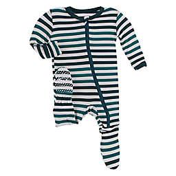 KicKee Pants® Wildlife Stripe Footed Pajama in Green