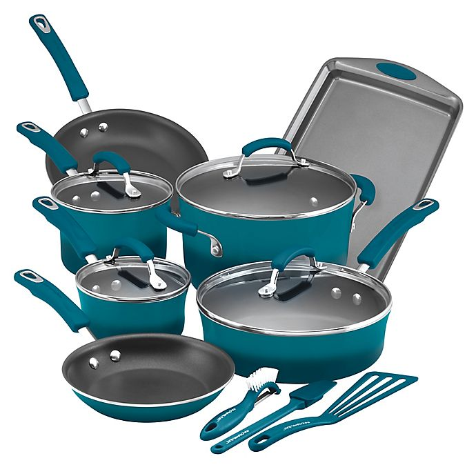 Alternate image 1 for Rachael Ray™ Hard Enamel Nonstick Aluminum 14-Piece Cookware Set in Marine Blue