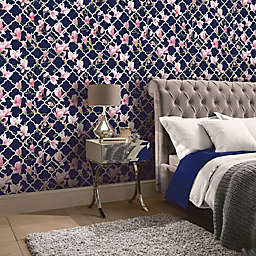 Arthouse Magnolia Trellis Wallpaper in Navy/Pink