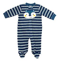 Rene Rofe Baby Size 6-9M Striped Fleece Footie in Blue/Grey