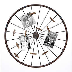 Ridge Road Décor Large Decorative Metal Wheel Photo Wall Display