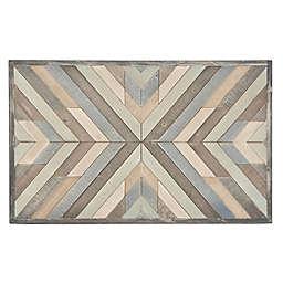 Ridge Road Décor Rectangular Chevron Pattern Wood Wall Art