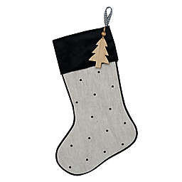 Embroidered Dot Christmas Stocking in Black/Ivory