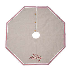 Style Me Pretty Merry 48-Inch ChristmasTree Skirt in Ivory/Red
