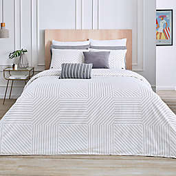 Lacoste Guetary 3-Piece Reversible Duvet Cover Set in White