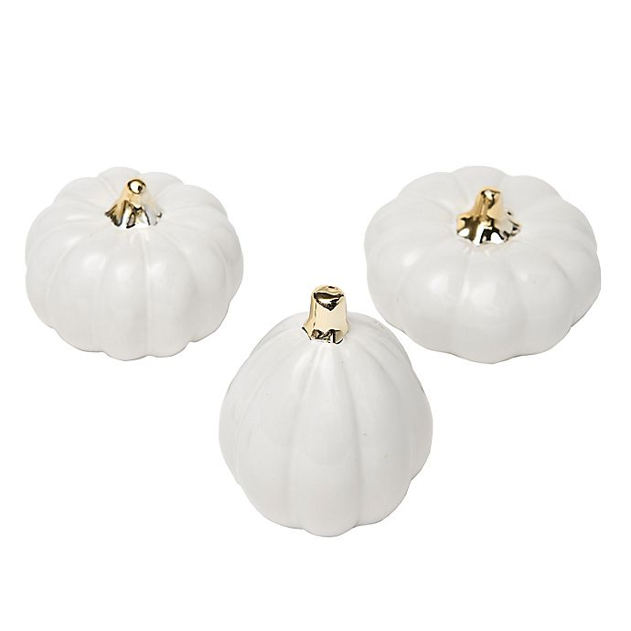 Alternate image 1 for Style Me Pretty Ceramic Pumpkins in White/Gold (Set of 3)