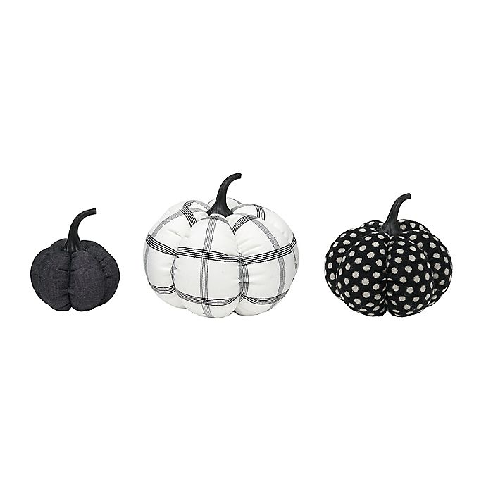 Alternate image 1 for Style Me Pretty Fabric Pumpkin Decorations in Black/White (Set of 3)