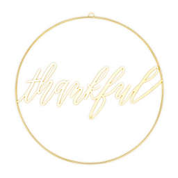 """Style Me Pretty """"Thankful"""" 18-Inch Decorative Sign in White/Yellow"""