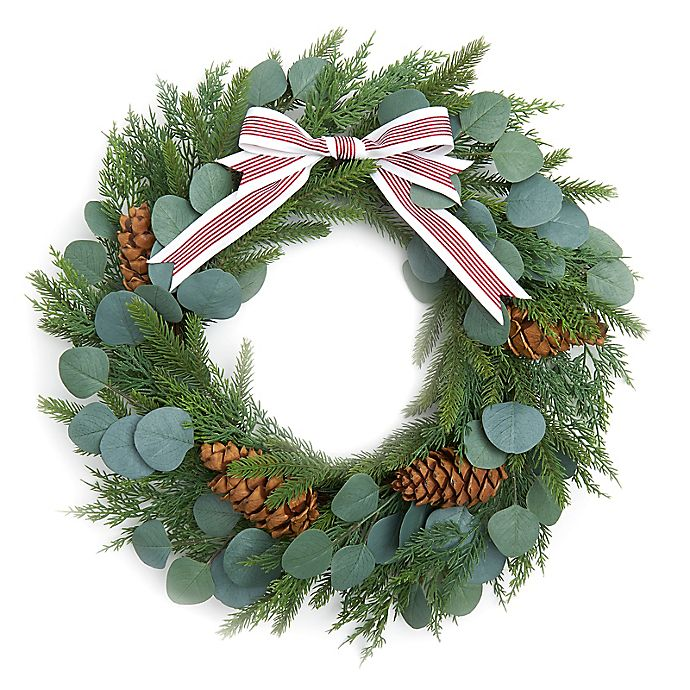 Alternate image 1 for Style Me Pretty 22-Inch Greenery and Pine Holiday Wreath