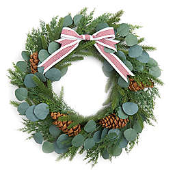 Style Me Pretty 22-Inch Greenery and Pine Holiday Wreath