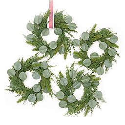 Style Me Pretty 9-Inch Mini Christmas Wreaths with Ribbon in Green (Set of 4)