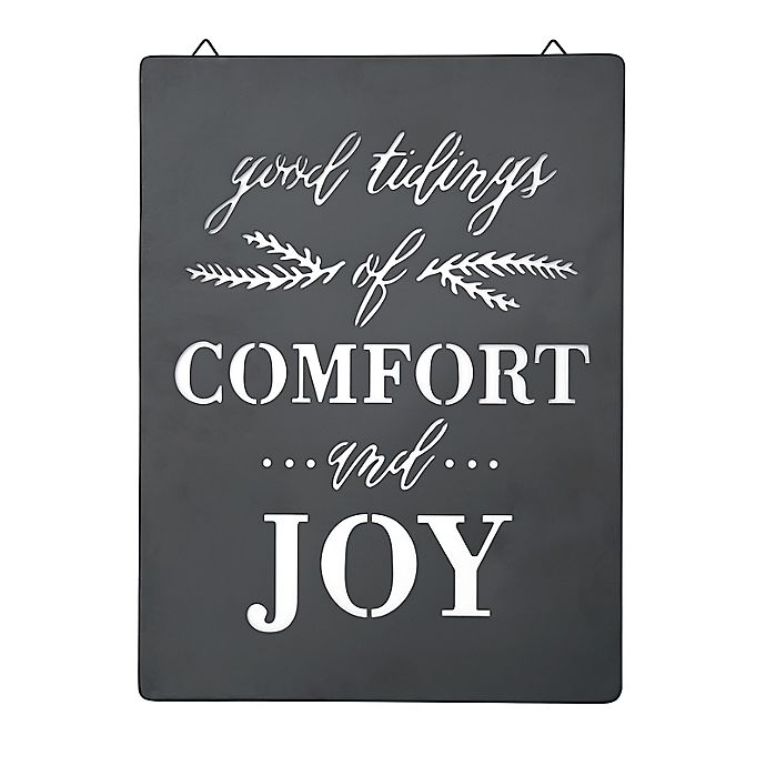 Alternate image 1 for Style Me Pretty Comfort and Joy 12-Inch Decorative Sign in Black/White