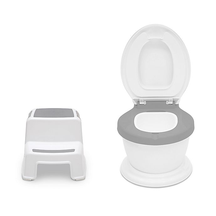 Alternate image 1 for Delta Children 2-Piece Kid Size Potty and Step Stool Set in White/Grey
