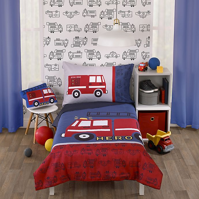 Alternate image 1 for carter's® Fire Truck Toddler Bedding Collection