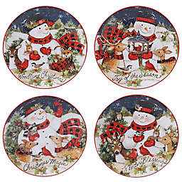 Certified International Magic of Christmas Snowman Dessert Plates (Set of 4)