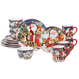 Certified International Magic of Christmas Santa Claus 16-Piece Dinnerware Set