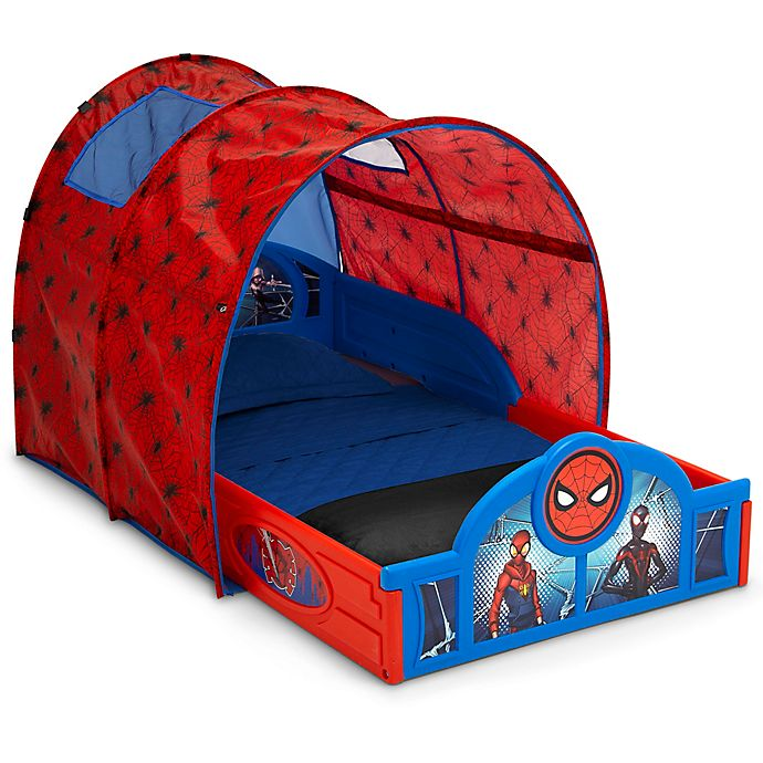Alternate image 1 for Delta Children® Marvel® Spider-Man Sleep and Play Toddler Bed with Tent in Blue