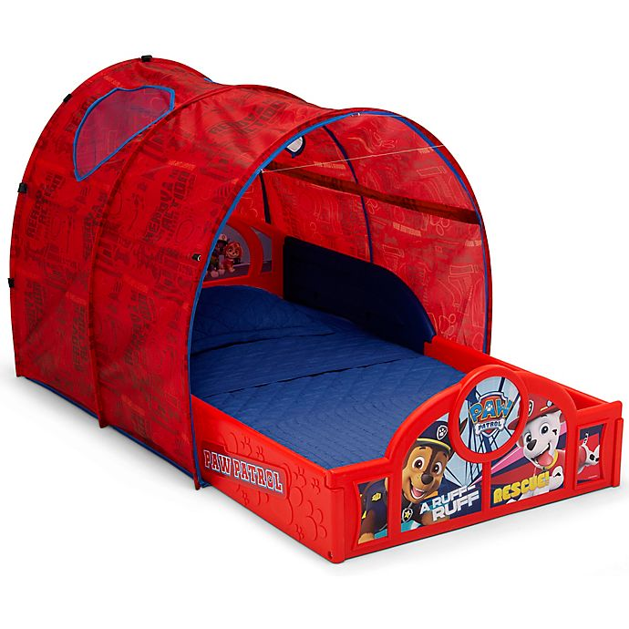 Alternate image 1 for Delta Children® PAW Patrol™ Sleep and Play Toddler Bed with Tent in Red