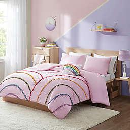 Mi Zone Juniper Rainbow Comforter Set With Pompom Trim in Pink