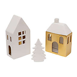 Style Me Pretty Tealight Holder Houses in White/Yellow (Set of 3)