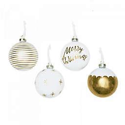 Style Me Pretty Glam Christmas Ornaments in White/Gold (Set of 4)