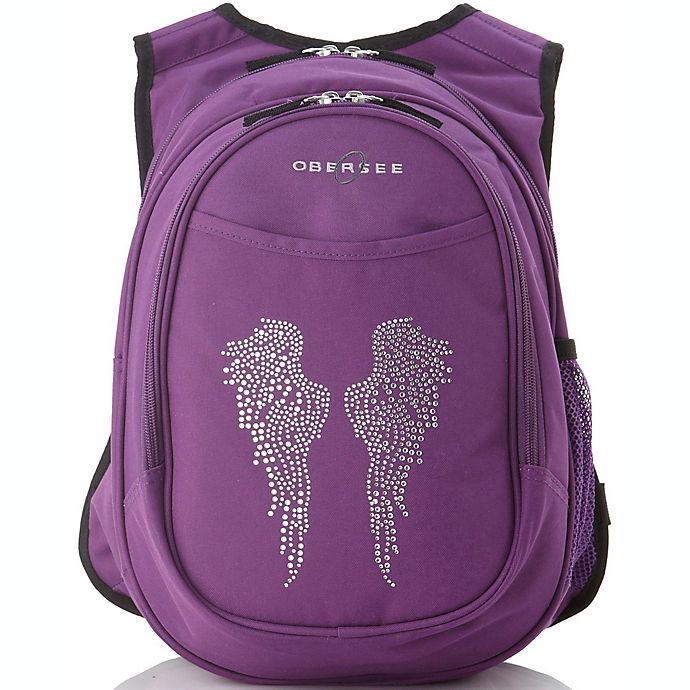 Alternate image 1 for O3 Kids All-in-One Backpack with Cooler in Bling Rhinestone Angel Wings