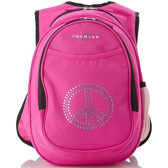 Alternate image 1 for O3 Kids All-in-One Backpack with Cooler in Bling Rhinestone Peace Sign
