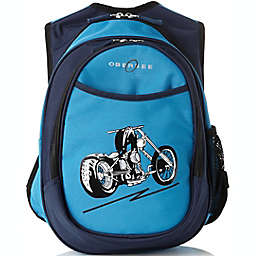 Obersee Preschool All-in-One Backpack for Kids with Insulated Cooler in Blue Motorcycle
