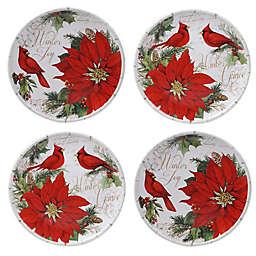 Certified International Winter Garden Dessert Plates in Red (Set of 4)