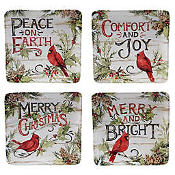 Certified international Evergreen Christmas Dessert Plates (Set of 4)