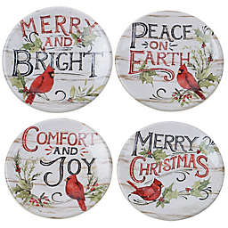 Certified international Evergreen Christmas Canape Plates (Set of 4)