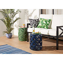 W Home Ceramic Weave Side Table in Navy