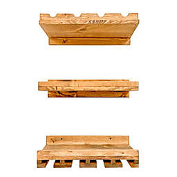 Rustic Luxe Wine Rack Wall Shelves (Set of 3)