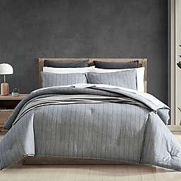 ED Ellen DeGeneres Chambray Pinstripe 3-Piece Reversible Full/Queen Comforter Set in Dark Grey