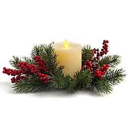 Luminara® Holiday Wreath  with 4.5-Inch Real-Frame Effect Flame Pillar Candle