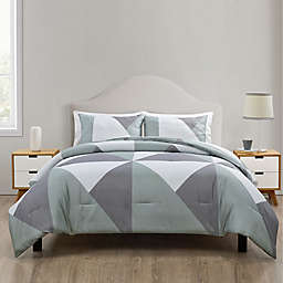 Jade + Oake Geo Colorblock 3-Piece King Comforter Set in Grey/Green