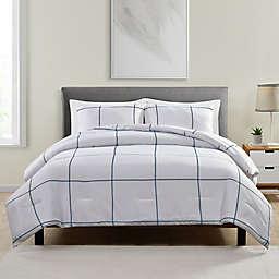 Jade + Oake Blue Grid 3-Piece Queen Comforter Set in White/Blue