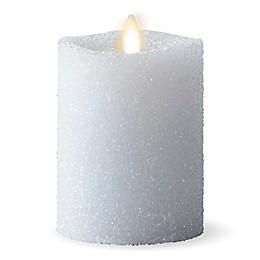 Luminara® Glitter Snow Real-Flame Effect Pillar Candle