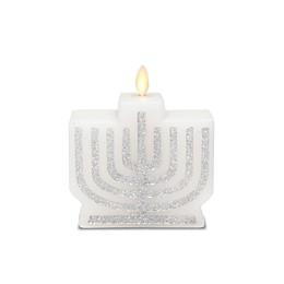 Luminara® LED Real-Flame Effect Menorah Pillar Candle in White/Silver