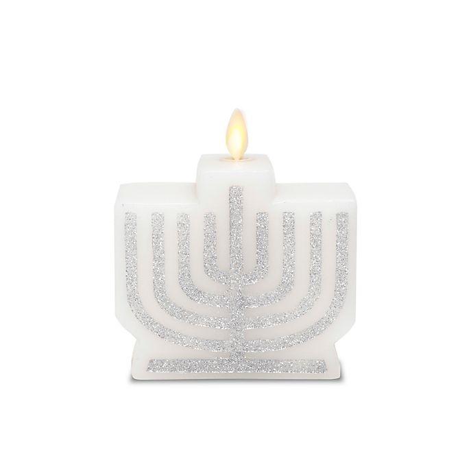 Alternate image 1 for Luminara® LED Real-Flame Effect Menorah Pillar Candle in White/Silver