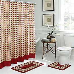 Christine Geometric 15-Piece Bath Bundle Set in Red