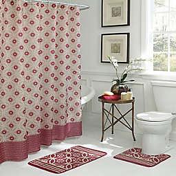 Hartford Geometric 15-Piece Bath Bundle Set in Red