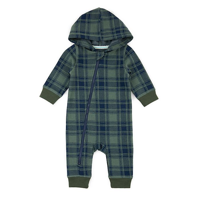 Alternate image 1 for Sovereign Code™ Plaid Hooded Coverall in Green/Navy