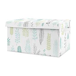 Sweet Jojo Designs Sloth Tropical Leaf Toy Bin in Aqua/Grey