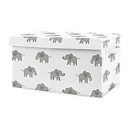 Sweet Jojo Designs Elephant Toy Bin in Grey/White