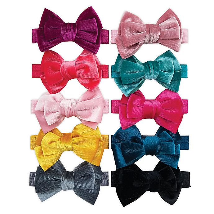Alternate image 1 for Velvet Double Bow Elastic 10-Pack Headbands