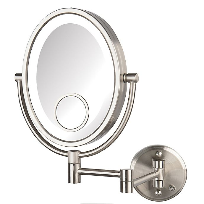 Alternate image 1 for Jerdon® 10X/1X LED Wall Mount Direct Wire Mirror in Nickel