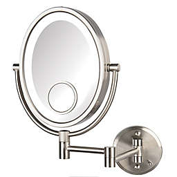 Jerdon® 10X/1X LED Wall Mount Direct Wire Mirror in Nickel
